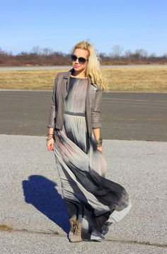 Flowy maxi and moto make a great pair