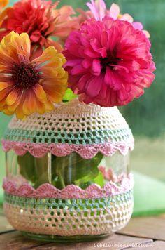 Vaso di vetro rivestito all'uncinetto, un'idea carina e delicata per rivestire e…