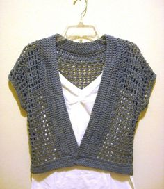 Free Crochet Shrug Patterns | The Handmade Way: The Short Sleeved Crochet Shrug with the Denim Look by Sukhamrit Kaur
