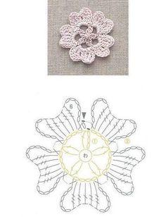 Crochet Flower Patterns, Crochet Stitches Patterns, Doily Patterns, Crochet Chart, Crochet Flowers, Knit Crochet, Crochet Bookmarks, Crochet Ornaments, Crochet Cactus