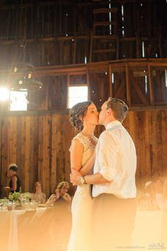Kissing bride and groom during first dance at barn wedding #Michiganwedding #Chicagowedding #MikeStaffProductions #wedding #reception #weddingphotography #weddingdj #weddingvideography #wedding #photos #wedding #pictures #ideas #planning #DJ #photography