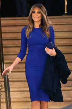 On the campaign trail in 2016 she looked great in a form fitting bright blue Roland Mouret dress.