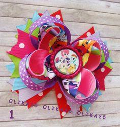 Pony bows My Little Pony bow Rainbow Hair bow Rainbow by OLIKA25