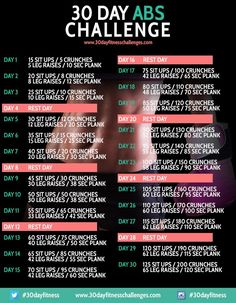 30 Day Ab Challenge Fitness Workout Chart Image