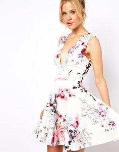 ASOS | ASOS Floral Coloured Skater Dress at ASOS
