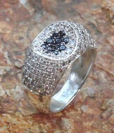 Handmade silver ring with zircons