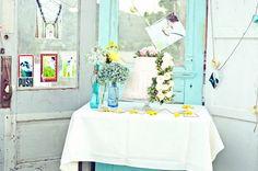 turquoise door, backyard diy wedding.  What is it with door props at outdoor weddings?
