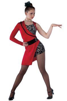 15338 Rumor Has It | Tap Jazz Funk Dance Costumes | Dansco 2015 | Red spandex and glitter printed black velvet short unitard with black velvet insert. Attached matching asymmetrical skirt, sleeve and lapel. Black velvet binding and jewel applique trim. Headpiece included.