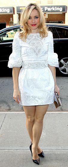 Rachel McAdams in a white Andrew Gn mini