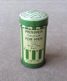 """Vintage Mini Sample Sized Mennen Talcum Powder Tin for Men 2"""" * Art Deco Full #Mennen"""