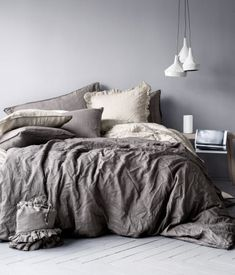 Dark gray and beige bedding