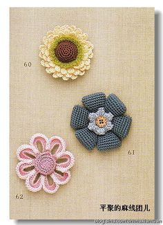 Crocheted flowers. Good stuff here! Japanese site with charts. I love the preciseness of these. pjc