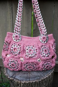 Upcycled Rose Crochet Pop Tab Purse by Flor7 on Etsy, $60.00  http://www.etsy.com/listing/97576846/upcycled-rose-crochet-pop-tab-purse