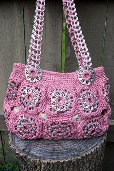 Upcycled Rose Crochet Pop Tab Purse.