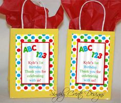 1st Birthday ABC 123 Favor Tag DIGITAL FILE by SimplyCreateDesigns, $5.75