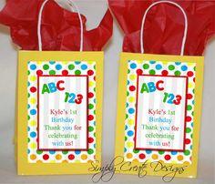1st Birthday ABC 123 Favor Tag DIGITAL FILE by SimplyCreateDesigns, $5.75