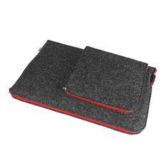 POKROWIEC NA LAPTOPA I ZASILACZ czerwony zamek #laptopsleeve #red #felt #gray #sleeve #cover #case #macbook
