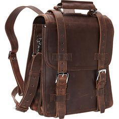 """Vagabond 14"""" Leather Travel Backpack Brief - Vintage Distress -... ($341) ❤ liked on Polyvore featuring bags, backpacks, accessories, brown, brown backpack, travel backpack, vintage travel bag, vintage backpacks and leather travel bag"""