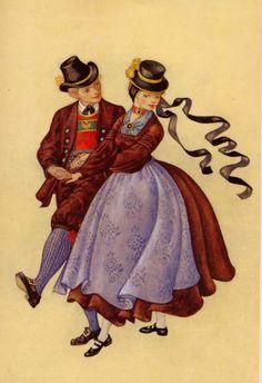 Salzburg, Pongau - Österreichs Trachtenbüchlein, Gemalt von MARIA REHM, Pinguin-Verlag, Innsbruck, 9. Auflage 1981, Copyright 1954 by Pinguin-Vertag, Innsbruck