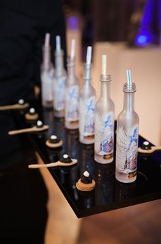 Ossetra caviar and miniature bottles of Snow Queen vodka are…