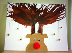 Christmas Crayon Art! Rudolph Melted Crayon Antlers! Blowing Paint through a straw for antlers?