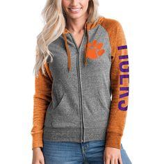 Clemson Tigers 5th & Ocean by New Era Women's Tri-Blend Raglan Sleeve Full-Zip Hoodie - Heathered Gray/Heathered Orange