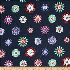 c5f276e24e5 Cotton + Steel Picnic Enamel Flowers Navy Fabric Decor, Teal Fabric, Retro  Fabric,