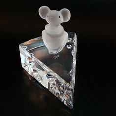 Vtg Swarovski mouse with cheese Ebeling & Reuss Crystal figurine 1980s
