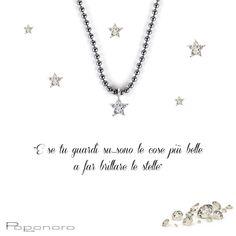 """""""E se tu guardi su..sono le cose più belle a far brillare le stelle"""" - girocollo catena argento brunito con stella in oro e diamanti a partire da € 195. http://tinyurl.com/kffddcq"""