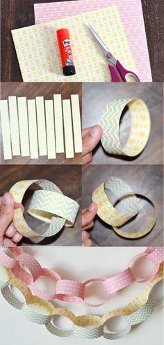 Como hacer una guirnalda de papel.                                                                                                                                                      Más