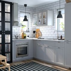 Small kitchen ideas kitchens inspiration a grey and white ikea design island s . small kitchen ideas best on for spaces Small Kitchen Tables, Rustic Kitchen, New Kitchen, Kitchen Decor, Kitchen Ideas, Hickory Kitchen, Grey Kitchens, Home Kitchens, Metal Kitchen Cabinets