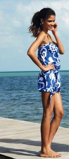 Lilly Pulitzer Summer '13- Colleen Romper in Schooner Blue Dock Hopper