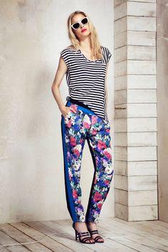 Rebecca Minkoff 2014 Runway - Rebecca Minkoff Resort Collection - ELLE- U neck tee, varigated stripe, print + colour block tapered pant