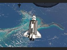 Shuttle in space from the space station