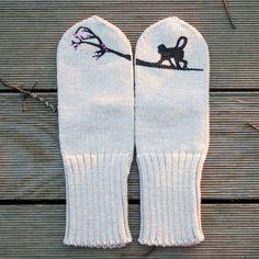 via en.dawanda.com Gloves – Black Monkey Beige Knitted Wool Mittens – a unique product by CloudberryFactory on DaWanda