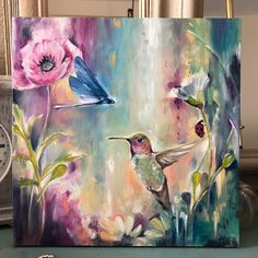 I would like to paint more fluid, polished backgrounds. I'm going to give it time 💕🎨✨ Hummingbird Painting, Art Abstrait, Pastel Art, Acrylic Art, Painting Inspiration, Watercolor Paintings, Art Paintings, Painting & Drawing, Art Drawings