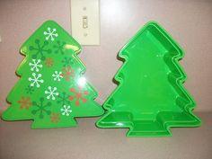 "CHRISTMAS TREE TREAT TIN. GREEN COLOR. 9.75"" X 9.25"" X 3.125"" NEW"