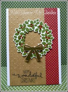 Stampin' Up! ... handmade Christmas card form My Sandbox ... country look ... Wondrous Wreath on dotty textured kraft  with a band of burgundy/kraft patterned paper ...