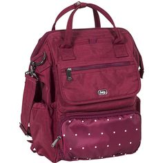 Lug Via RFID Tote - Cranberry Dot - Totes ($96) ❤ liked on Polyvore featuring bags, handbags, tote bags, red, purple tote, polka dot backpacks, day pack backpack, lug backpack and backpack totes