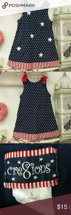 Cre8ions stars n stripes dress patriotic Vguc. Cute red bows on shoulders. Embroidery around stars. Cre8ions  Dresses Casual