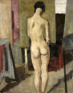 Felice Casorati (1883-1963, Italy) - Nudo di schiena