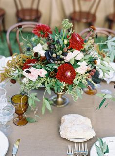 La Tavola Fine Linen Rental: Tuscany Barley with Tuscany Rouge Napkins | Photography: Tec Petaja, Venue: Twin Peaks Ranch in Ojai, CA, Wedding Design, Coordination, Paper and Floral Design: Bash, Please, Tabletop Rentals: Casa de Perrin, Vintage Lounge Rentals: Found Vintage Rentals