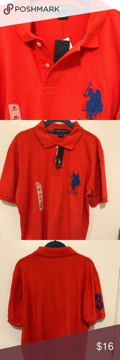 """Men's U.S. Polo ASSN polo shirt. Medium. NWT NWT Orange with royal blue trim. 2 buttons open below neck. Size medium. Shoulder seam to shoulder seam measures 19"""" across. Width across body (seam to seam) is 20"""".  Height from top of back of neck to bottom front measures 29.5"""" U.S. Polo Assn. Shirts Polos"""