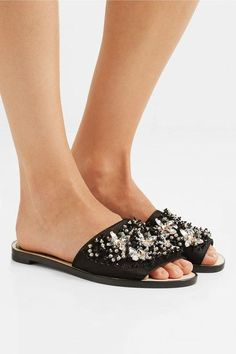 Lanvin - Embellished Satin Slides - Black - IT