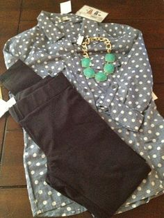 Love the cute polka dot top and necklace.  The top or another polka dot top under a sweater would be cute!