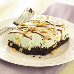 """Mint Sundae Brownie Squares Recipe -""""I love brownies,"""" says Edie DeSpain of Logan, Utah, """"and this recipe makes a luscious, after-dinner dessert that's so simple to prepare. Get ready for mega compliments…and no leftovers!"""""""