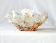 Ambrosia fabric bowl delicate round 7 x 3 peach and green by Textility. Perfect gift for the home decorator.