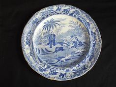 "Antique Georgian Spode blue printed ""Death of the Bear"" plate, #Plate"