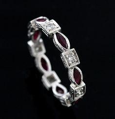 Platinum Art Deco Style Diamond and Ruby Stackable Eternity Wedding Band $1,999 #orospot #fashion #wedding #band #ring #gold #diamond #ring #ruby