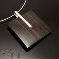 Ebony pendant silver stripe
